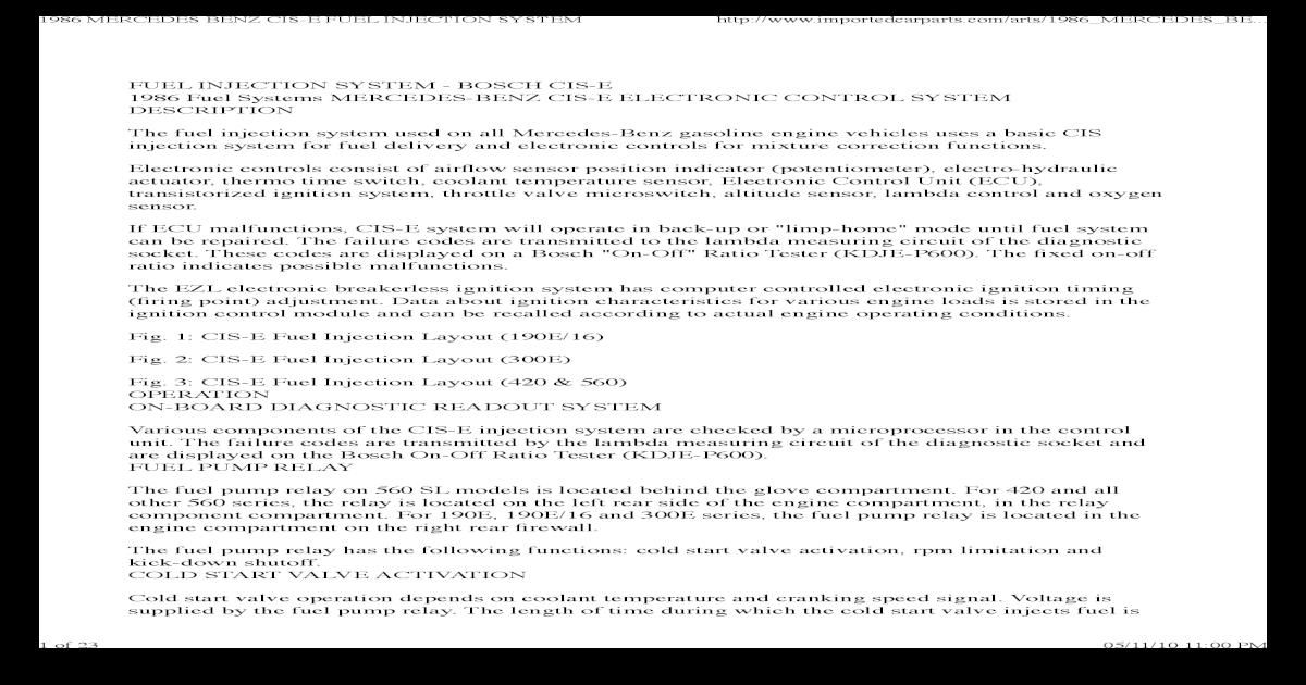 1986 Mercedes Benz Cis-e Fuel Injection System-1 - [PDF