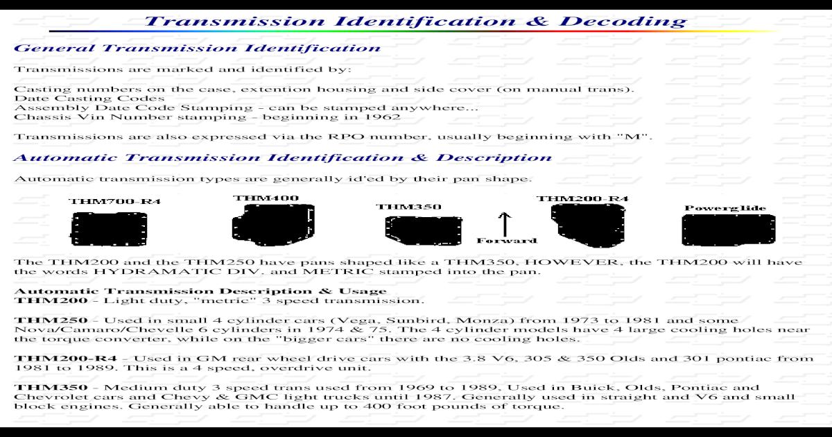 Transmission Codes Chevy