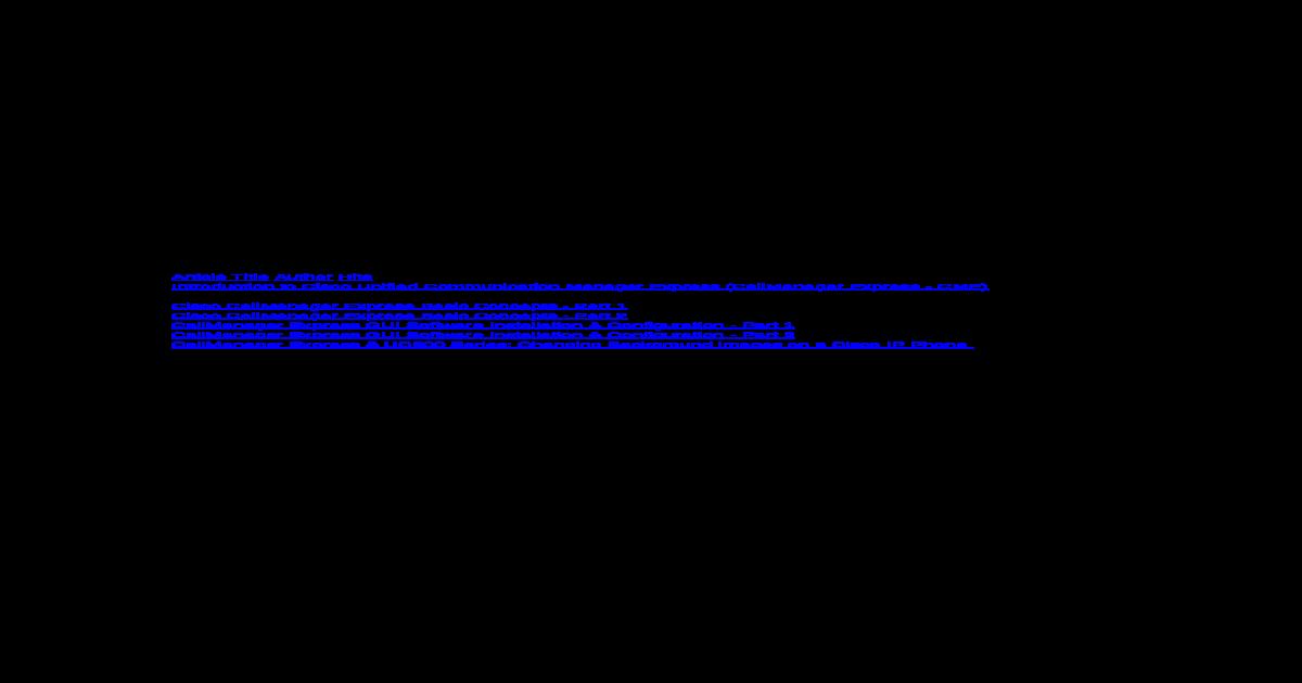 Cisco Cme Configuration Example