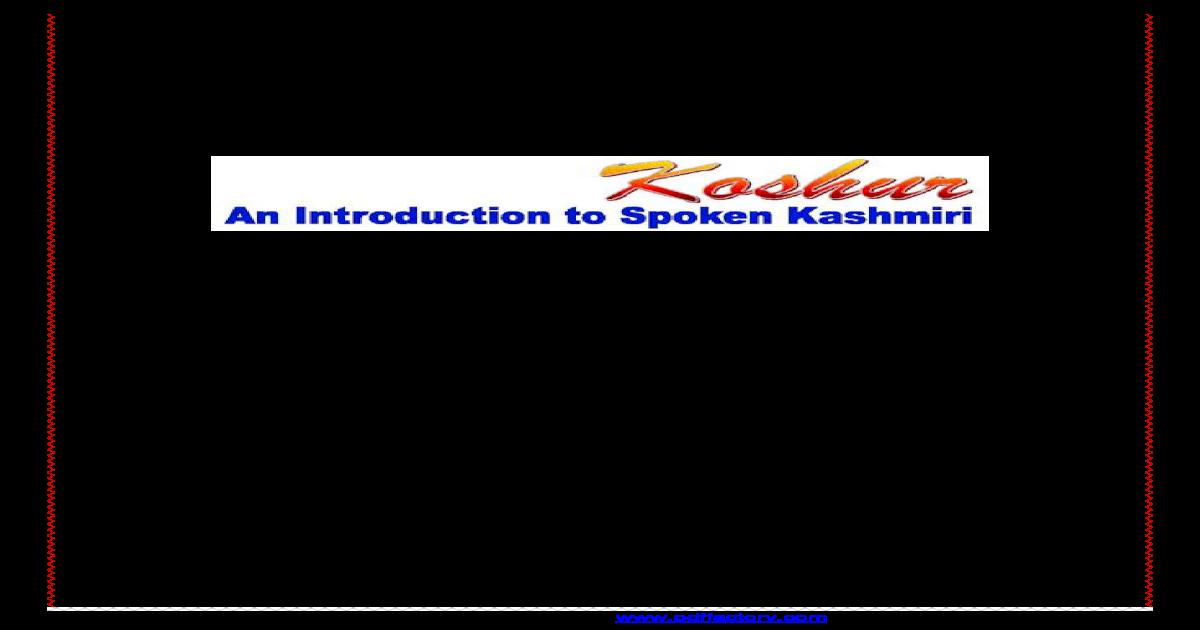 Koshur--An Introduction to spoken Kashmiri - [PDF Document]