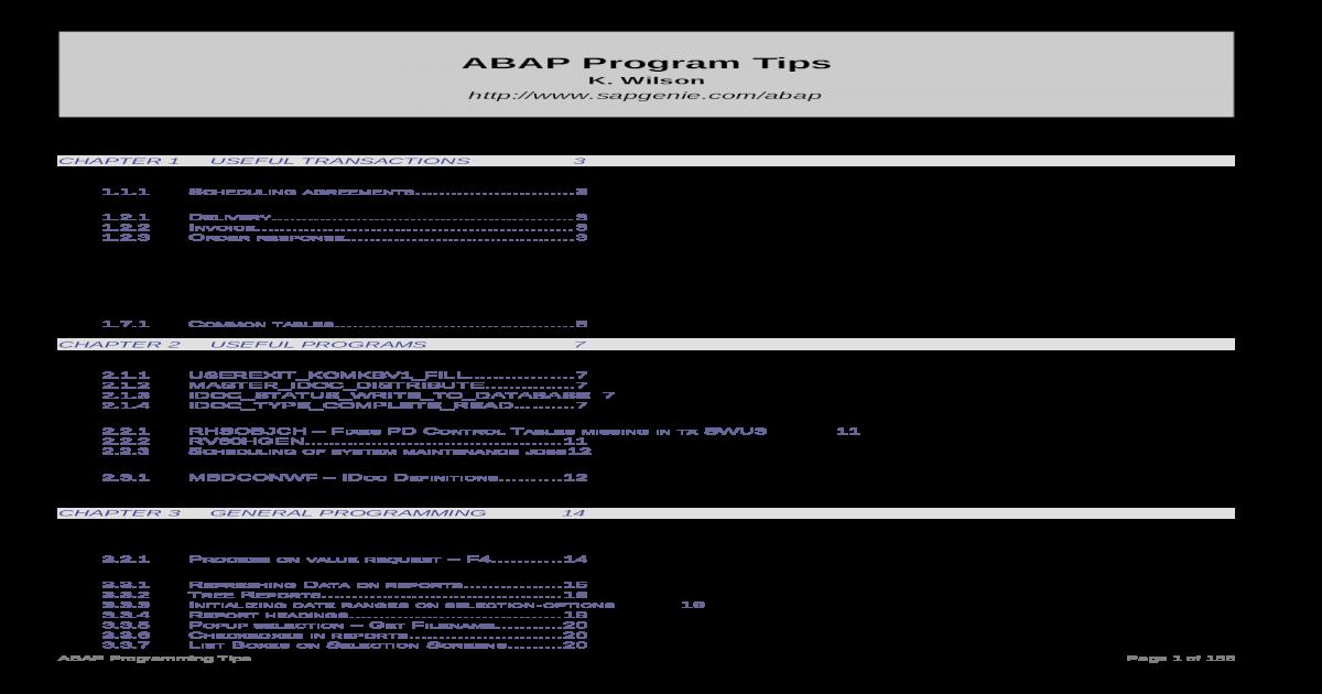 Abap Program Tips v3 - [DOC Document]