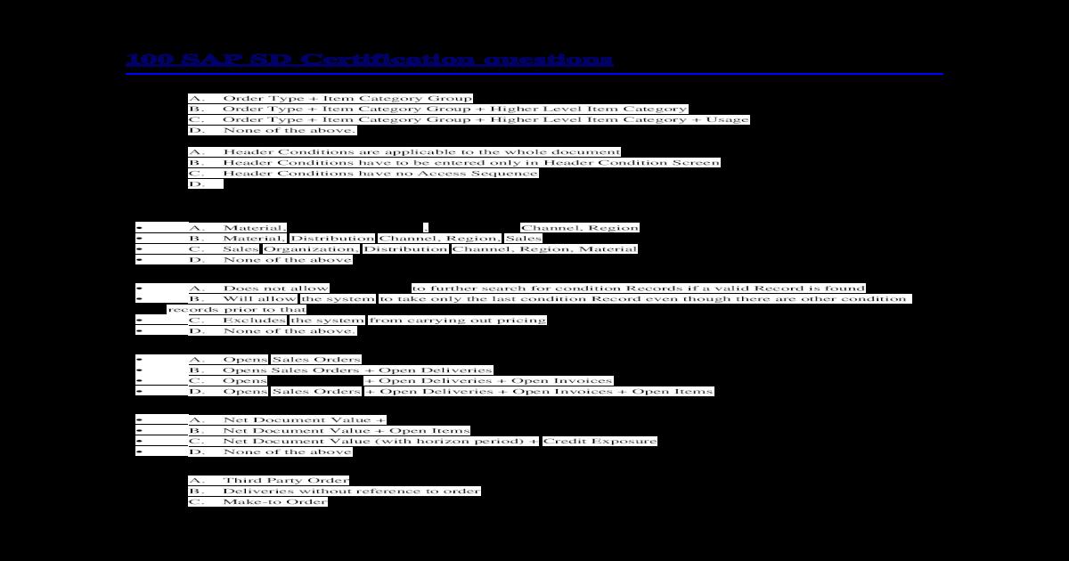 100 SAP SD Certification Questions - [DOC Document]