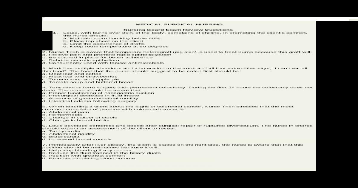 MEDICAL SURGICAL NURSING - [DOCX Document]