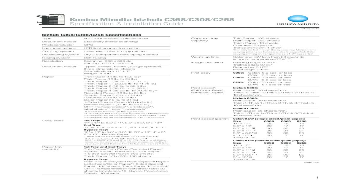 Konica Minolta bizhub C368 C308/C258 Specification