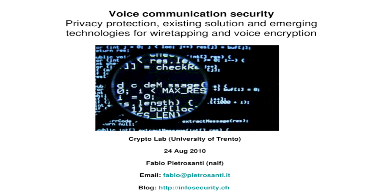 Voice communication security - [PPT Powerpoint]