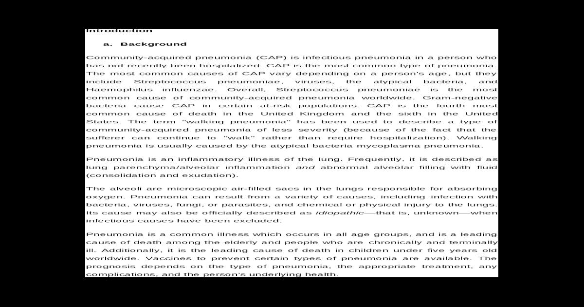 Case Study - Pneumonia - [DOC Document]