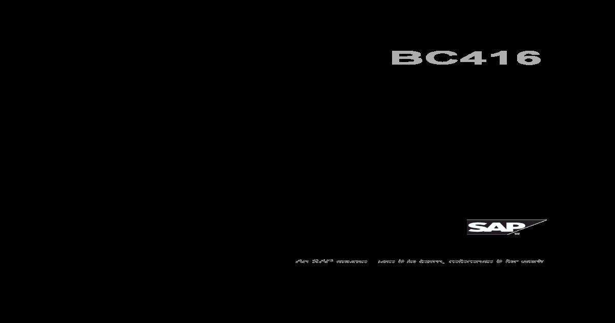 BC416 - ABAP Web Services - [PDF Document]