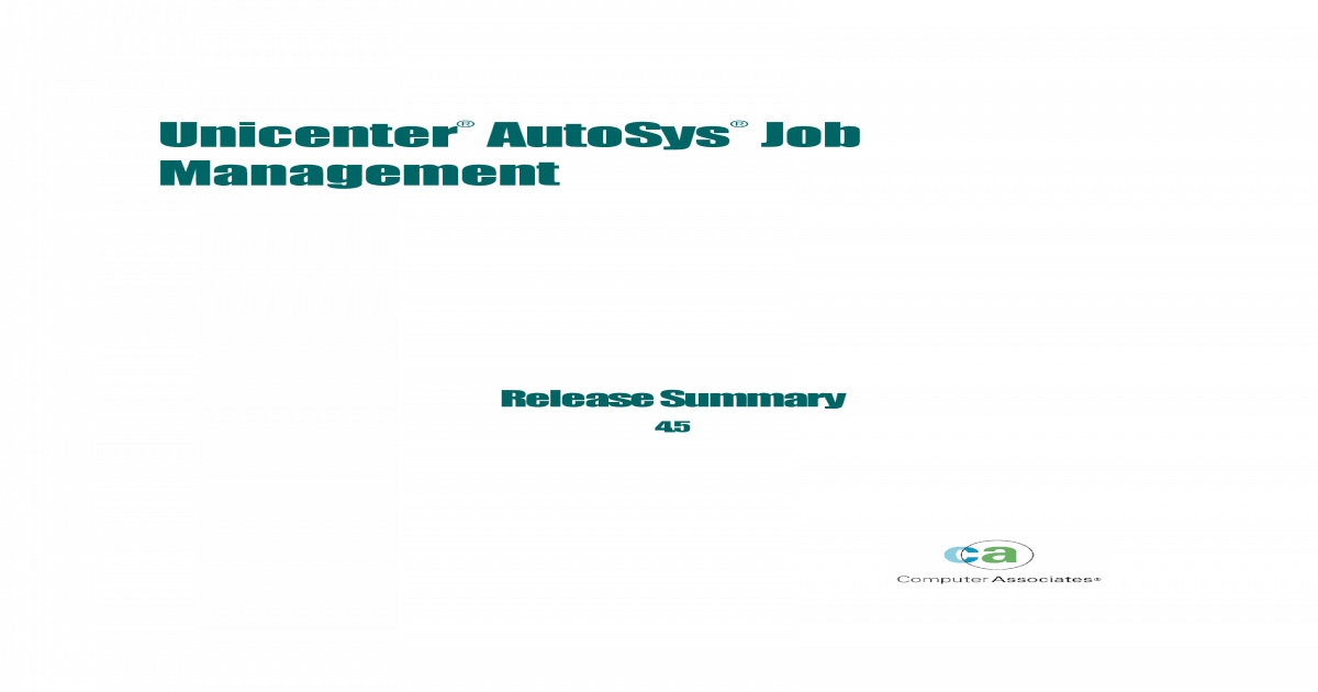 Autosys Job Management - Release Summary - [PDF Document]