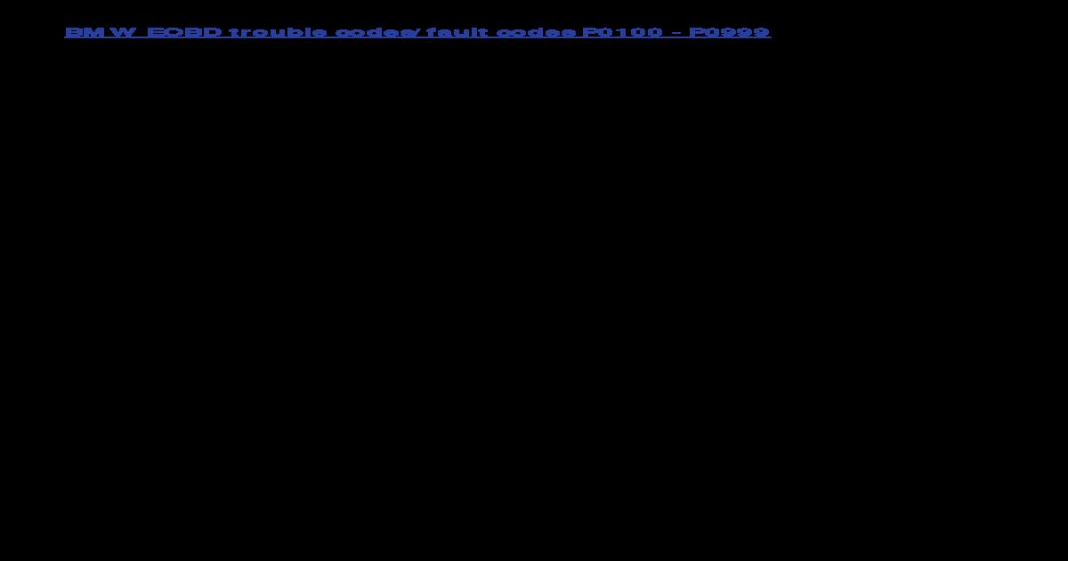 Bmw Eobd Fault Codes - [PDF Document]