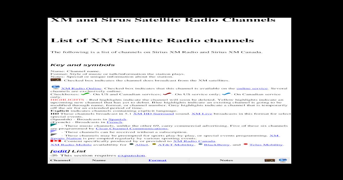 sirius xm channels list 2020