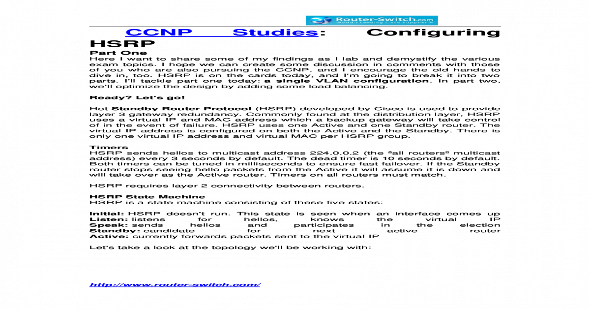 Ccnp studies configuring hsrp - [DOCX Document]