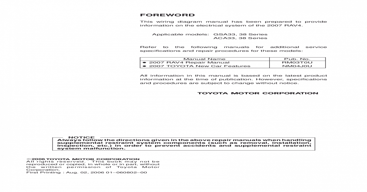 2007 rav4 wiring diagram 2007 toyota rav4 electrical wiring diagrams  ewd   pdf document   2007 toyota rav4 electrical wiring