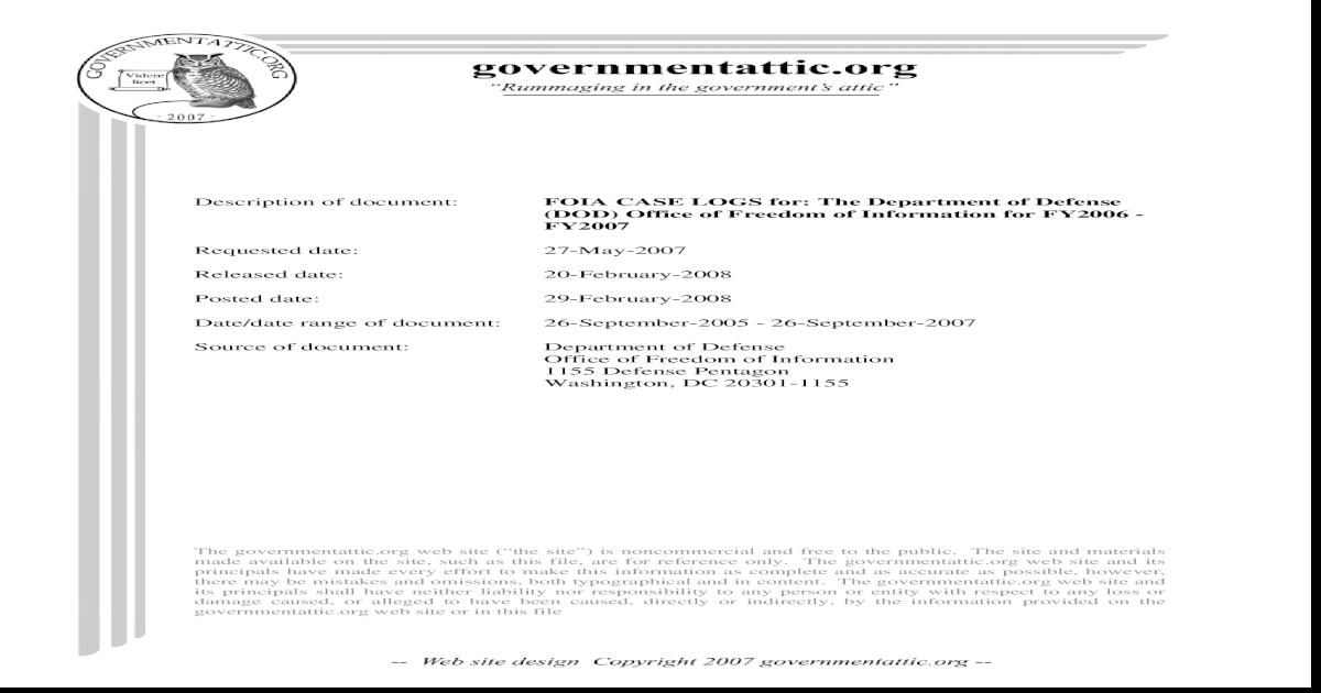 Foia Logs Dod Ofc-Of-foi Fy2006-07 - [PDF Document]