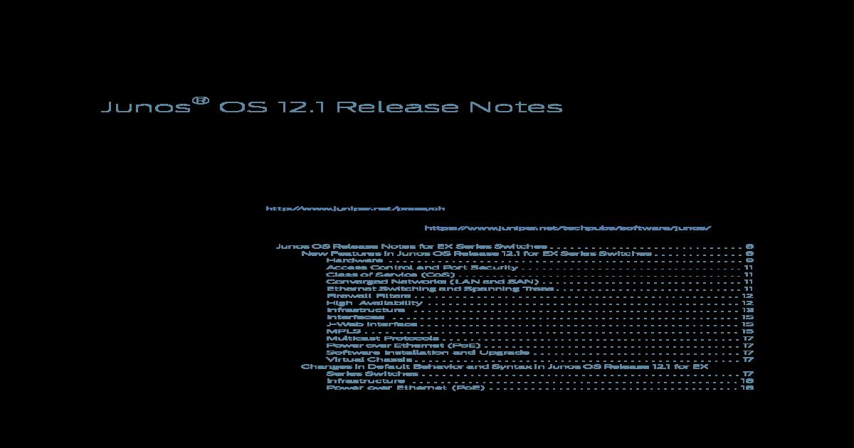 Junos Release Notes 12 1 - [PDF Document]