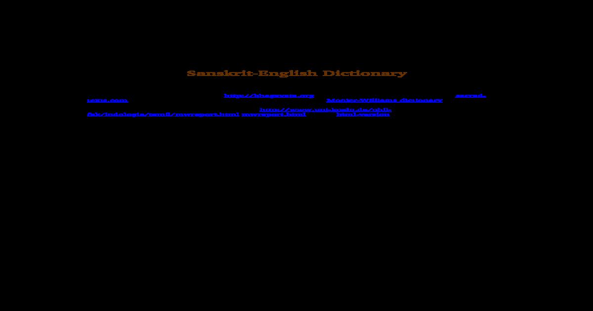 Sanskrit Dictionary - [DOC Document]