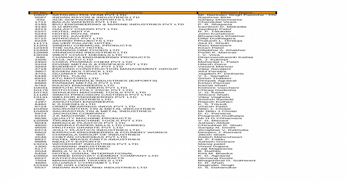 Company CEO & Director Details - [XLSX Document]