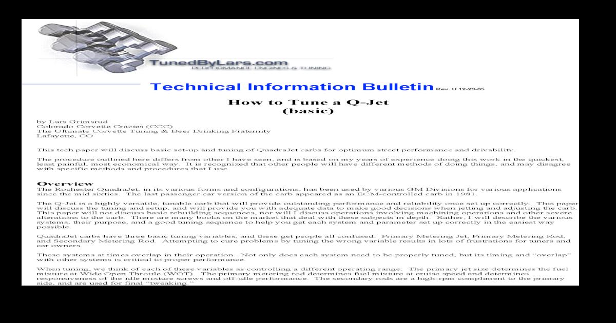 Quadrajet Carburetor Tuning - [PDF Document]
