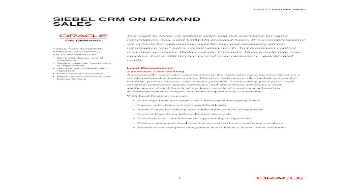 Siebel CRM On Demand Sales Feature crmondemand/documents